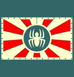 Sun rays backdrop with spider icon vector