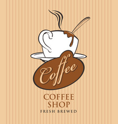 banner for coffee shop with cup of coffee vector image vector image