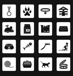Cat care tools icons set squares vector