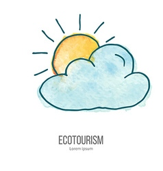 ecotourism doodle on watercolor texture vector image vector image
