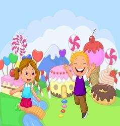 Happy children cartoon in the fantasy sweet land vector image