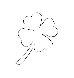 leaf clover sign black dotted icon on vector image vector image