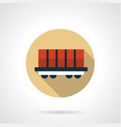rail boxcar beige round icon vector image