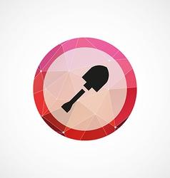 shovel crane circle pink triangle background icon vector image vector image