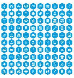 100 profession icons set blue vector
