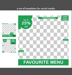 3 templates for food in a set in green and model vector