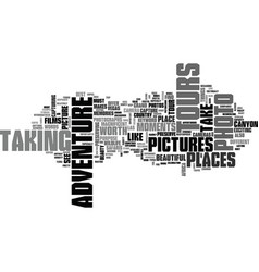 adventure photo tours text word cloud concept vector image