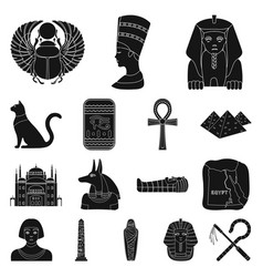 Ancient egypt black icons in set collection for vector