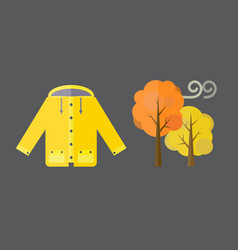 Autumn clothes set items fall acorn leaves vector