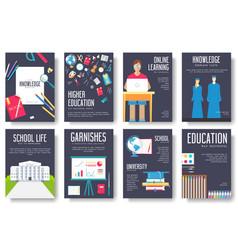 back to school information cards set student vector image