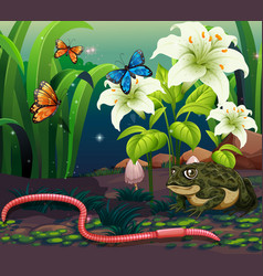 background scene with animals in garden at night vector image
