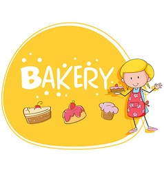 Bakery theme with baker and cake vector image