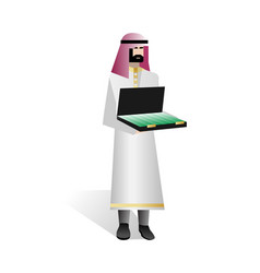 Bearded arabic investor with open suitcase vector