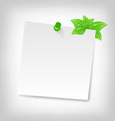 Blank note paper with green leaves and space vector
