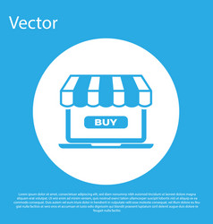 blue online shopping concept buy on screen laptop vector image