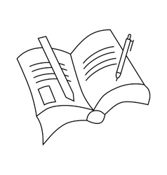 Book with pen and pencil icon outline style vector