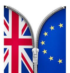 brexit concept zipper dividing uk and eu vector image