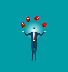 businessman catching throwing 2017 word on red box vector image