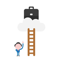 businessman character ladder pointing up to climb vector image
