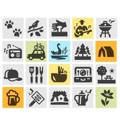 camping set black icons signs and symbols vector image
