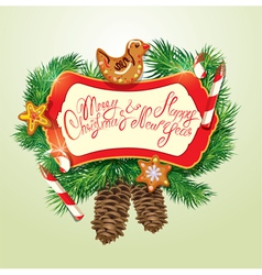 Card with xmas gingerbread candy canes and fir-tre vector image
