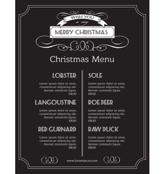 Christmas food menu on chalk Board Christmas vector