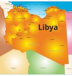 color map of Libya country vector image