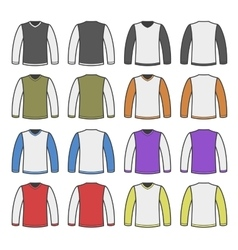 Color Men T-shirt Long Sleeved Shirts Set vector