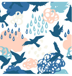 Cool watercolour rainy clouds raindrops flying vector