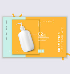 Cosmetic pump bottle modern site template vector