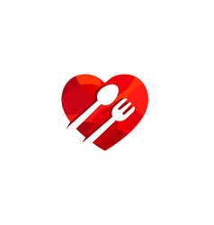 Creative heart love food symbol logo vector