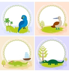 crocodile alligator iguana parrot bird booby vector image