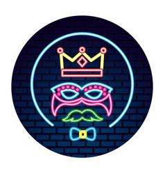 crown mask mustache bowtie neon brick wall label vector image