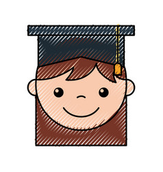 Cute girl graduated icon vector