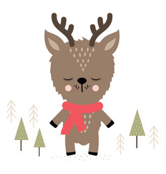 Cute holiday reindeer vector