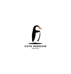 Cute penguin stand side logo design vector