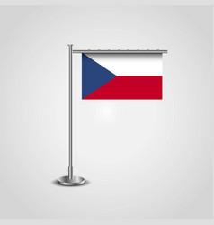 Czech republic flag pole vector