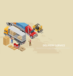 delivery service concept in isometric poster vector image