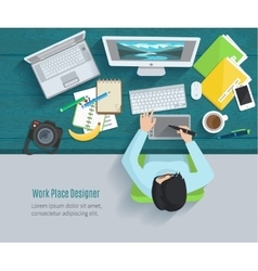 Designer Workplace Flat vector image