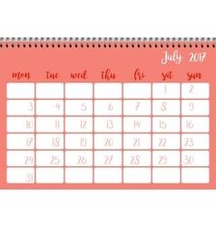 Desk calendar template for month July Week starts vector image