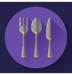 Dishes - Spoon knife and fork icon Flat vector image