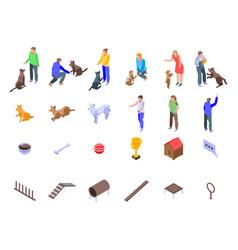 Dog training icons set isometric style vector