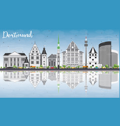 dortmund skyline with gray buildings blue sky vector image