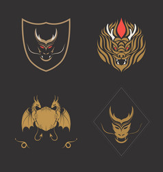 Dragon logo set vector