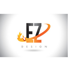 ez e z letter logo with fire flames design and vector image