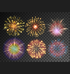 Fireworks isolated against black transparent vector