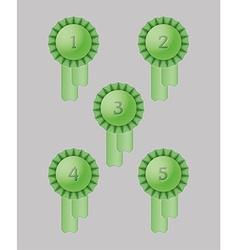 Five award ribbons vector