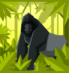Flat geometric jungle background with gorilla vector