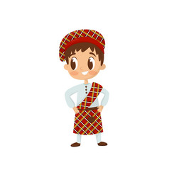 Flat icon little boy in traditional vector