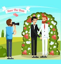 flat wedding people orthogonal composition vector image